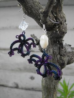 Tat's a Bat  Needle Tatted Lace Earrings for by tattingforspirit, $24.00