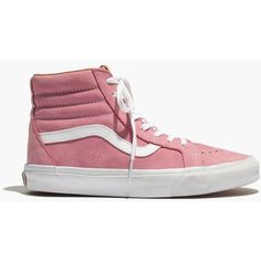 MADEWELL Vans® SK8-Hi Leather High-Top Sneakers in Pink ($75) ❤ liked on Polyvore featuring shoes, sneakers, vans, pink, pink shoes, madewell shoes, leather hi tops, hi tops and pink leather shoes