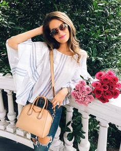 blue and white ruffle sleeve top