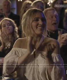 Maddie's white eyelet halter top on Nashville.  Outfit Details: https://wornontv.net/76129/ #Nashville