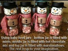 snowmen craft with baby food jars