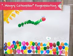 Finger Painting The Very Hungry Caterpillar Craft The Very Hungry Caterpillar Activities, Hungry Caterpillar Craft, Eric Carle, Toddler Crafts, Crafts For Kids, Birthday Crafts, Birthday Nails, Spring Activities, Finger Painting