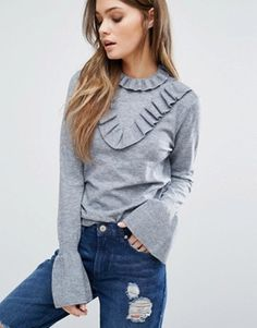 Shop the latest Vero Moda High Neck Ruffle Detail Sweater trends with ASOS! Tops Boho, Chunky Knitwear, Denim And Supply, Basic Tops, Cardigans For Women, Refashion, Fashion Outfits, My Style, How To Wear