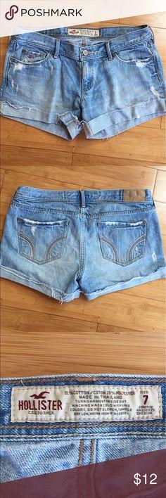Hollister light-wash jean shorts Hollister brand light-wash jean shorts.  Great condition, worn twice.  Size 7. Hollister Shorts Jean Shorts