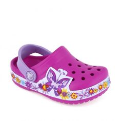 Sandale plaja fete Butterfly Clog Candy Pink - Crocs Pink Crocs, Pink Candy, Flower Power, Clogs, Walking, Butterfly, Floral, How To Wear, Style