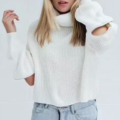 Chic Turtleneck Long Sleeves Solid Color Zipper Design Sweater For Women