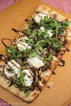 Garlicky Mushroom Ricotta Pizza with Wild Arugula + Aged Balsamic