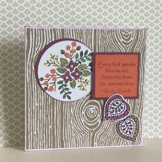 This card uses the designer papers Into The Woods together with the stamp set Lighthearted Leaves both from the Autumn/Winter catalogue available from the 1st September. Hope you like it - created by Julia Jordan