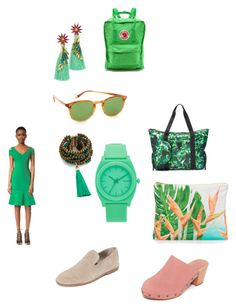 """""""Find out green"""" by jamuna-kaalla ❤ liked on Polyvore featuring Vince, Madewell, Samudra, Fjällräven, Garrett Leight, Nixon, Elizabeth Cole, Terez, Rosantica and Yigal AzrouÃ«l"""