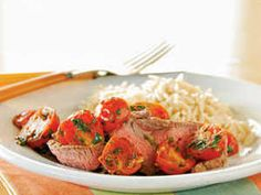 Let the steak stand while you heat the topping. Fill out the meal with orzo, and garnish with fresh cilantro sprigs, if desired.