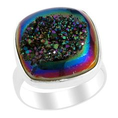 16.63ct Titanium Blue Drusy Quartz Silver Ring Size 7      http://stores.ebay.com/JEWELRY-AND-GIFTS-BY-ALICE-AND-ANN