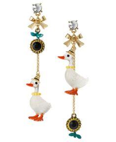 Betsey Johnson Earrings, Duck and Sunflower Mismatch Linear Earrings $50.00