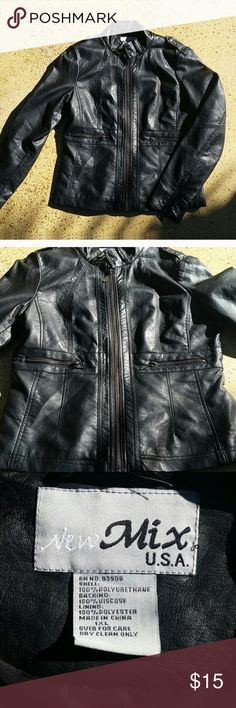 """Faux Leather/Vegan Jacket Black faux leather light weight jacket. Zips up front and band around waist. Measures 23.5"""" from shoulder to waist. Armpit to armpit 19"""". Size says 1xl but it fits a junior xl. Super cute jacket. I'm reposhing because the tailoring around the waist hits me too high. There are no rips, tears, snags or marks. new mix USA Jackets & Coats"""