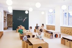 Inspired by the tree as a symbol of growth and development, Baukind brings the outdoors in by designing a kindergarten for the Berlin based organisation – which is specialised in pedagogics and education for the deaf. Together with Atelier Perela, the team designed a colour concept and animal characters that correspond to and live around the root, trunk and crown of trees.