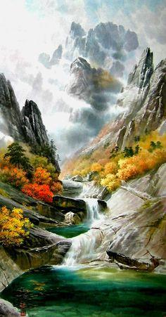 (North Korea) Mt. Geumgang by Mun Jeong-ung (1944-  ).