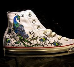 Painted peacock sneakers  i would give my left leg for these!!!