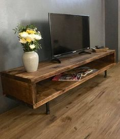 TV CABINET high Made from recycled wood and industrial steel table size . - TV CABINET high Made from recycled wood and industrial steel table size # - Living Room Designs, Living Room Decor, Tv Stand Ideas For Living Room, Budget Living Rooms, Living Room Tv Unit, Wood Tv Unit, Rustic Tv Unit, Reclaimed Wood Tv Stand, Wooden Tv Stands