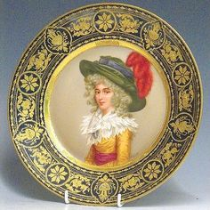 Royal Vienna Cabinet Plate by Wagner painted with portrait of a lady signed, the mazarine border with elaborate jewelled gilding, 10in d, beehive mark and titled