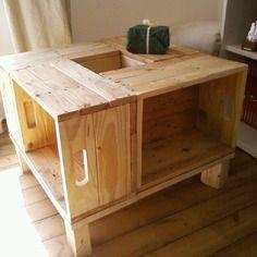 Bureau en bois de palette patin vieilli bureau en - Table salon palette chantier ...