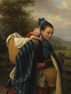 Friedrich Eduard Meyerheim (1808 - 1879), Girl From The Harz Mountains With Child