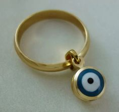 Evil Eye Ring, Personalized Items, Rings, Gold, Stuff To Buy, Ebay, Shopping, Ring, Wire Wrapped Rings
