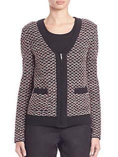St. John - Rib-Trimmed Knit Jacket