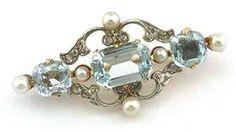 aqua and pearl pin