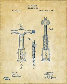 Wine Print featuring the drawing 1876 Wine Corkscrews Patent Artwork - Vintage by Nikki Marie Smith