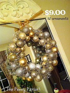 dollar store christmas ball wreath