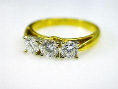 Loving the warmth of this yellow gold Vintage Trinity Diamond Ring #pastpresentfuture #diamond #anniversary