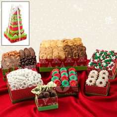 Ring in the holidays with a festive red and green Snack Tower Gift Set, each filled with something delicious! Triple Chocolate Cookies, Pecan Cookies, Chocolate Bark, Christmas Mix, Christmas Gifts, Chocolate Covered Raisins, Christmas Gift Baskets, Snack Box, Peppermint Candy