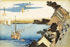 """歌川 広重(Utagawa Hiroshige 1797ー1858)「《東海道五十三次》~神奈川台之景」。 ※""""街道沿いの奥から3軒目に「さくらや」の看板を掲げた茶店が。後に「田中家」という料亭になり、現在も営業中。坂本竜馬の妻おりょうが、仲居を勤めていたことでも有名。"""" #秘密 #ミュージアムウィーク"""