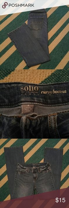 "NEW YORK & CO SOHO JEANS Curvy bootcut size 4P. Mid rise. 29"" waist. 27"" inseam. So comfy and figure flattering. New York & Company Jeans Boot Cut"