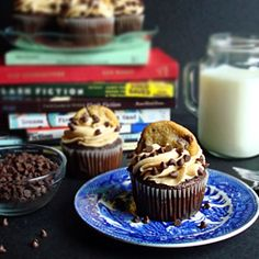 Chocolate chip cookie dough SURPRISE cupcakes. That's right, there's a ball of cookie dough in there.