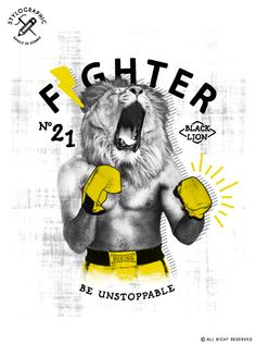 Fighter - Lion on Behance Fashion Graphic Design, Graphic Design Trends, Freelance Graphic Design, Graphic Design Posters, Webdesign Inspiration, Layout Inspiration, Tonga, Interactive Poster, Graph Design