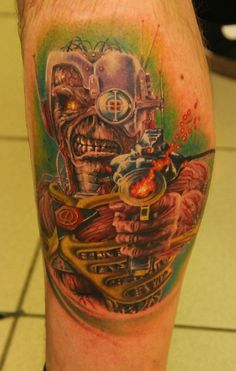Iron Maiden Eddie by Florian Karg Fan Tattoo, Sick Tattoo, Metal Tattoo, Tattoo You, Bruce Dickinson, Iron Maiden, Eddie The Head, Beautiful Tattoos, Awesome Tattoos
