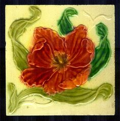 V Pretty Art Nouveau Tile of Tulip by STBBS Hodgart 1900'S | eBay