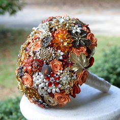 Burnt orange wedding Broach Bouquet - Deposit - Made to order bridal bouquet. $75.00, via Etsy.