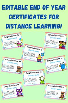 Editable End of Year Certificates for Distance Learning.  Perfect for marking the end of the year online with your class. Powerpoint Format, School Closures, End Of Year, Kid Names, Certificate, Distance, Presentation, Classroom, Student