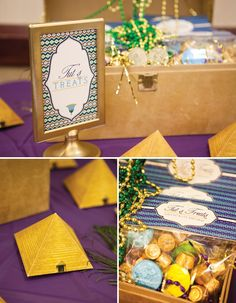Jewel of the Nile Egyptian Spa Party by Banner Events as seen on HWTM.  Pyramid favor boxes by Piggy Bank Parties.  King Tut treat toppers by Anders Ruff Custom Designs.