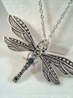 Green crystal dragonfly necklace green by ToadsLilyPondJewelry, $29.99