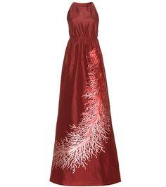 ¡Cómpralo ya!. Silk-blend gown. Burgundy silk-blend gown with print by Valentino , vestidoinformal, casual, informales, informal, day, kleidcasual, vestidoinformal, robeinformelle, vestitoinformale, día. Vestido informal  de mujer color rojo de Valentino.