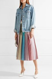 Gucci Pleated lamé midi skirt and Topshop Unique Rushmore oversized beaded denim jacket