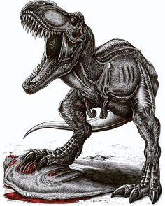 Tyrannosaurus-Rex claiming his prey by APPaleoart on Etsy Dinosaur Sketch, Dinosaur Drawing, Dinosaur Art, Jurassic World Dinosaurs, Jurassic Park World, Indominus Rex, Tyrannosaurus Rex, Dino Park, Dinosaur Tattoos