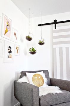 I love these air plants, and this looks like our chair! We already have a hook on the ceiling these could hang from, and could add a corner gallery wall.