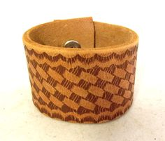 Reclaimed Tan Brown leather cuff bracelet by honeyblossomstudio