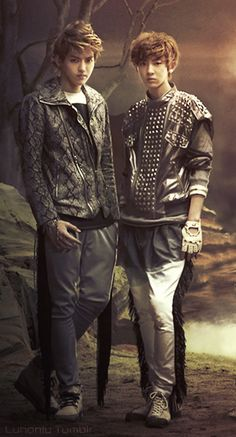 Kris and Chanyeol... The two giants on the set of history. Love it