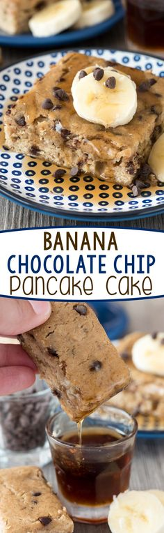 Banana Chocolate Chip Pancake Cake - this easy pancake recipe is baked in a cake pan so you don't have to flip pancakes! Perfect for a quick breakfast or snack.
