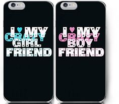 Cute Love I Love My Crazy Boyfriend and Girlfriend Couples Matching Cell Phone Cases for Iphone 5, Iphone 5c, Iphone 6, Iphone 6 Plus, Ipod Touch 5,galaxy S5,galaxy S5 Mini (For Iphone 6 4.7 Inch)