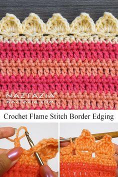 How to Crochet Flame Stitch Border Edging by Donna Wolfe from #naztazia #diy #crochet #crochetpatterns #crochetprojects #crochetcrafts #flamestitch #shellstitch #shellstitchcrochet #crochetshellstitch #diycrafts #diycrochet #ganchillo #tejidos #tejidosdeganchillo #knitting #knittingpatterns #crochetstitches #crochetstitch #crochetstitchpatterns #crochetstitchtutorial #crochetstitchespatterns #crochetedgingandborders #crochetborders #crochetedges #crochetedgings #crochetscallops #crochetleaves Crochet Edging Patterns Free, Crochet Blanket Edging, Crochet Ripple, Crochet Lace Edging, Crochet Leaves, Crochet Borders, Diy Crochet, Crochet Edging Tutorial, Crochet Edgings